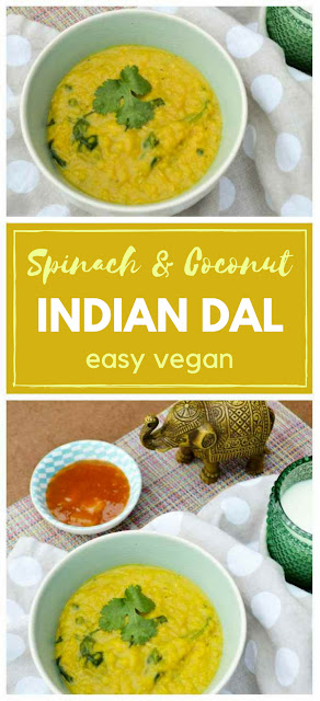 Spinach and coconut dal is a delicious, but frugal family meal, that can be thrown together in less than 30 minutes. The perfect midweek meal. #vegan #dal #curry #quickdinner #vegandinner #lentils #dahl #veganrecipe