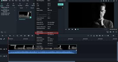 Cara Membuat Efek Suara Bergema di Filmora Pada Tools Detach Audio