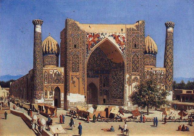 Василий Васильевич Верещагин - Медресе Шир-Дор на площади Регистан в Самарканде. 1869-1870