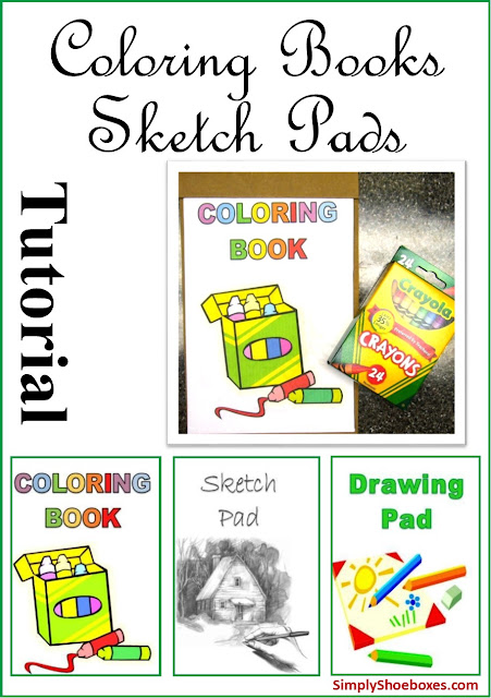 DIY Coloring Books and Sketch Pads.  Sized to fit Operation Christmas Child GO shoeboxes.