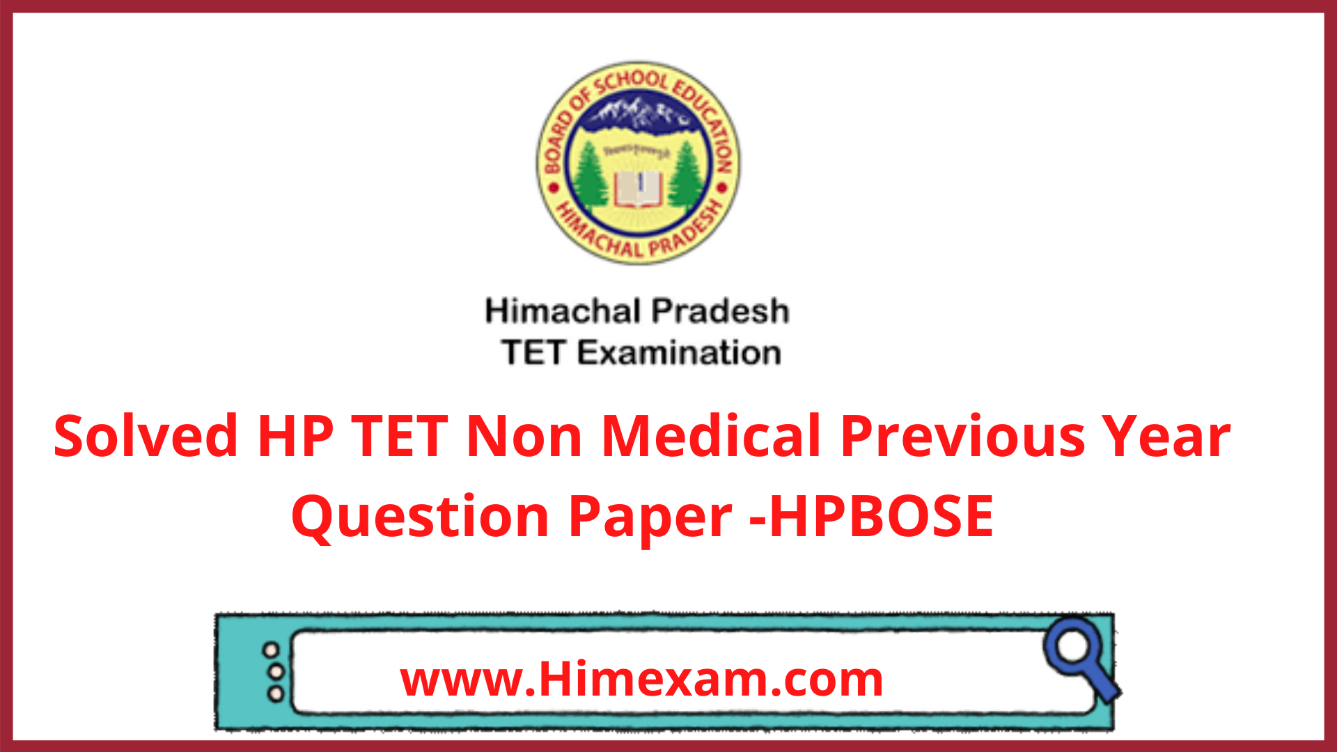 Solved HP TET Non Medical Previous Year Question Paper -HPBOSE