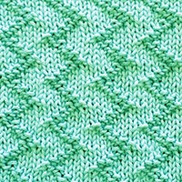 Basic knit and purl stitches. Zig Zag stitch worked in the round.