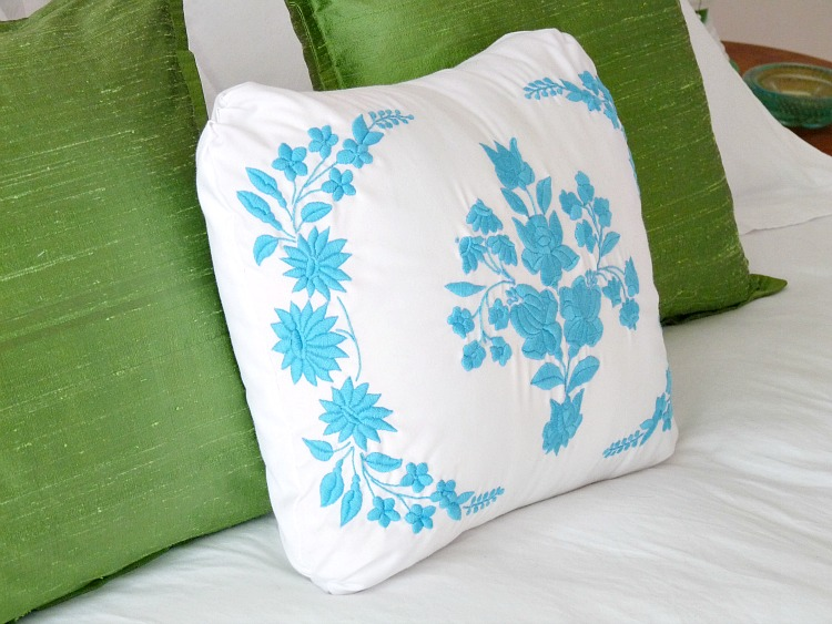 Turquoise Hungarian Embroidery Pillow