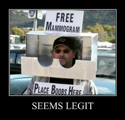 Free mammogram.  Place boobs here
