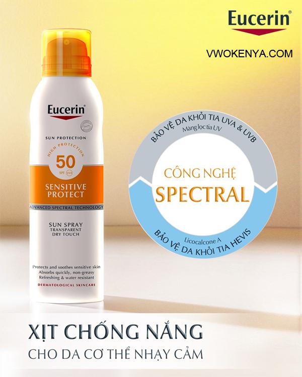 Kem chống nắng Eucerin Sun Spray Transparent SPF 50
