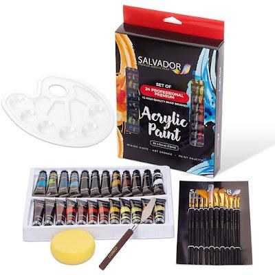 24 Colors, Artist Paint Kit with Premium Paint Brushes