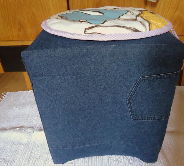 jeansowy pokrowiec na stary puf