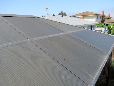 Damage to twin-wall polycarbonate roof on a Gazebo