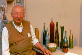 Paolo De Poli, pictured in his studio in Padua with a selection of the beautiful vases in which he specialised