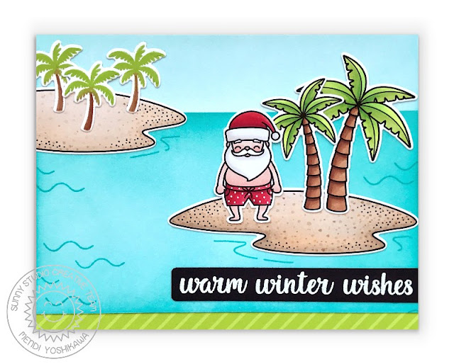 Sunny Studio Warm Winter Wishes Santa Claus in Swim Trunk on Tropical Island Beach with Palm Trees Holiday Christmas Card (using Surfing Santa, Tropical Scenes, Sending Sunshine, Heartfelt Wishes Stamps & Sleek Stripes Paper)