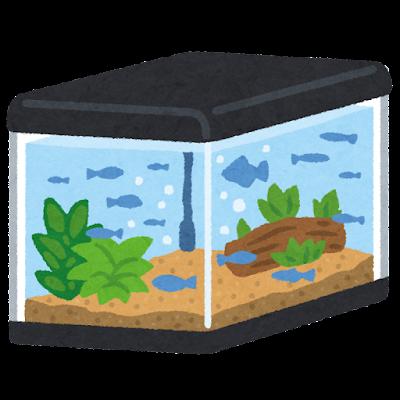 魚の入った水槽のイラスト(フタ付き)