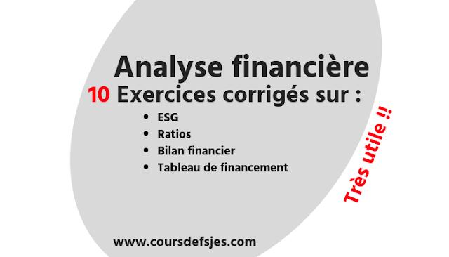 10 Exercices corrigé d'analyse financière