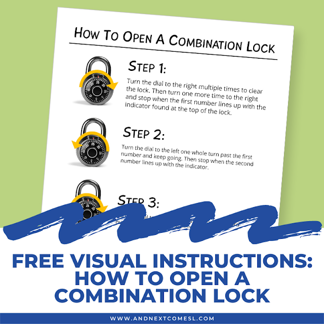 Free printable visual instructions for how to open a combination lock