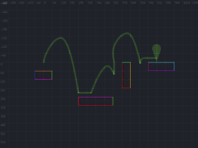 A screenshot showing annotated surfaces and a path across these surfaces consisting of separate jump trajectories.