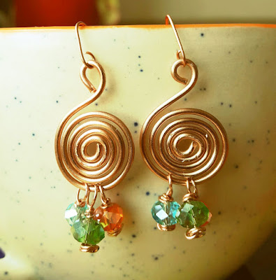 Copper Rings, Copper Wire Ear Rings, Copper Jewelry
