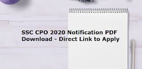SSC CPO 2020 Notification PDF Download - Direct Link to Apply