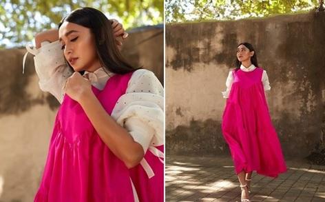 sayani gupta, summer, ready, hot, pink, dress