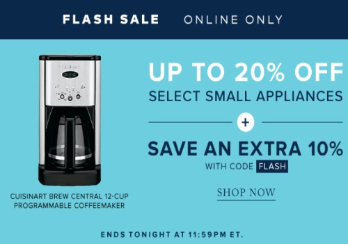Hudson's Bay Flash Sale Up To 20% Off Small Appliances + Extra 10% Off Promo Code