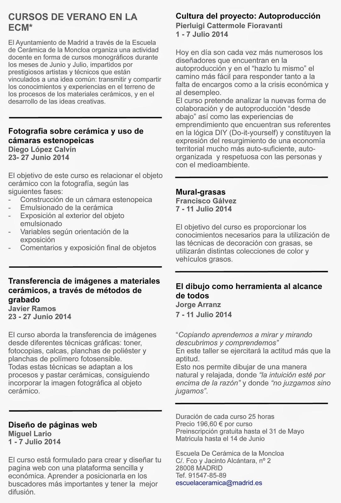 Escuela de cer mica de la moncloa madrid cursos en verano for Curso de ceramica madrid