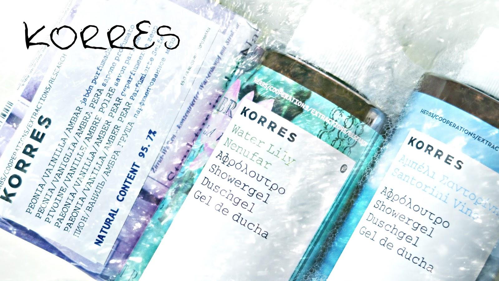 Korres marque grecque de cosmétiques gels douche savons shampoings