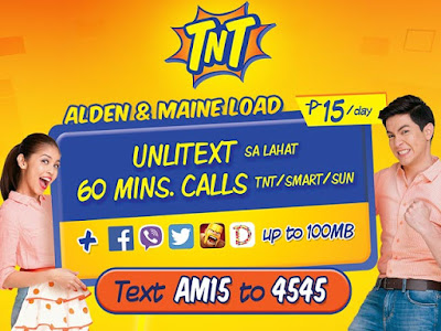 TNT AM15 or Alden Maine 15 : Unli All-Net Texts, 60mins Calls to TNT/Smart/Sun + 100MB Facebook