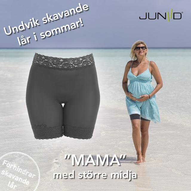 """lårskav och gravid är inte längre något problem om du använder Juniid Tights Woman """"Mama"""""""