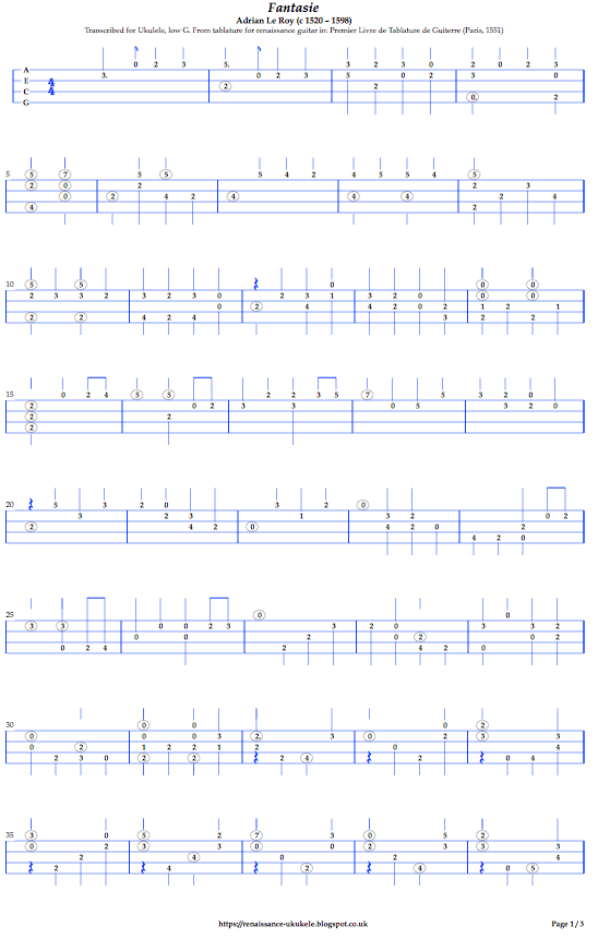 image of tablature transcription for ukulele of renaissance guitar music 'Fantasie' by le Roy published 1551
