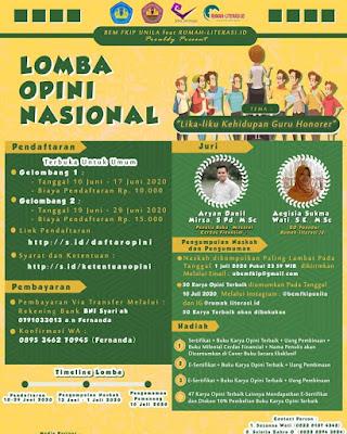 Lomba Menulis Opini Tingkat Nasional | Tema Lika-liku Kehidupan Guru Honorer | BEM FKIP Universitas Lampung