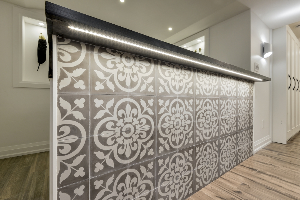 encaustic tiles on bar front