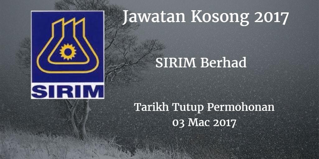 Jawatan Kosong SIRIM Berhad 03 Mac 2017
