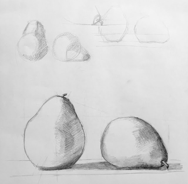 Daily Art 11-28-17 still life sketch in graphite number 36 - pears