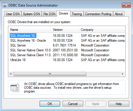 ADAPTIVE SERVER ANYWHERE 11 ODBC DRIVERS DOWNLOAD