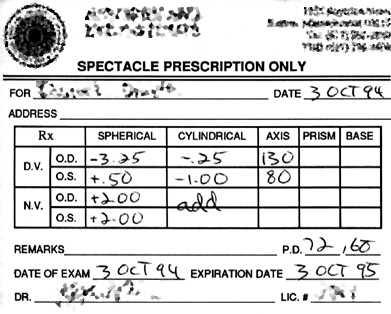 prescripție pentru vedere slabă