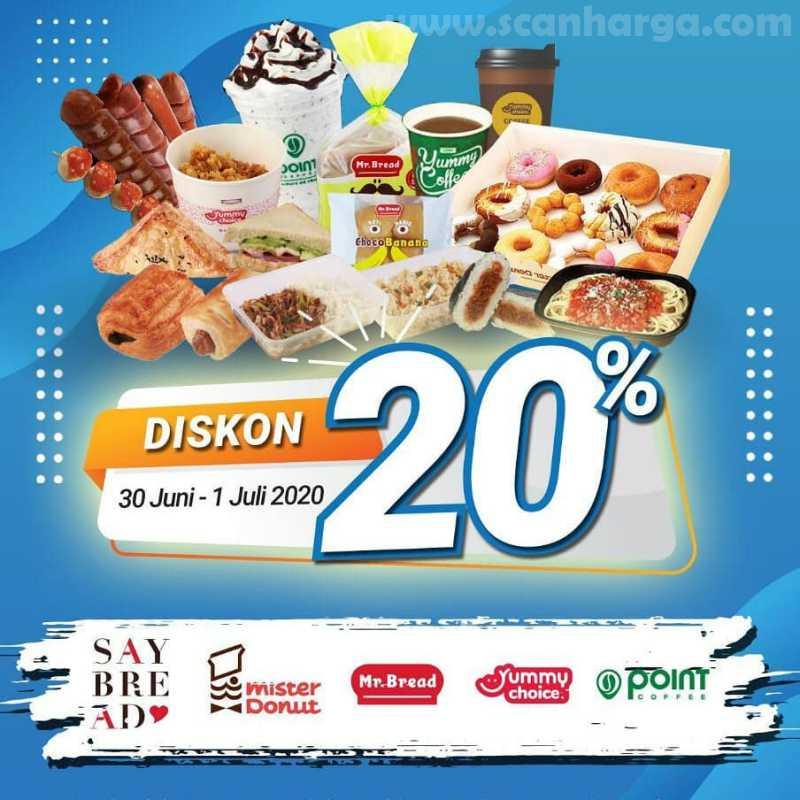 Promo Indomaret i.saku Diskon 20% Produk Roti, Ready to drink, Mister Donut Dan Point coffee