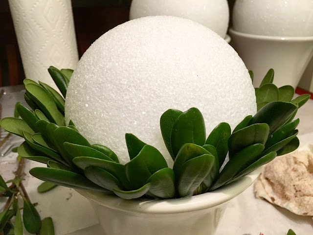 Vase Fitted with Greenery and Styrofoam Orb Base for Cupcake Bouquet