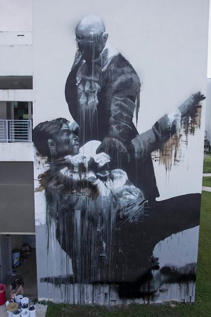 """San Juan Fight Club"" New Street Art By Conor Harrington In Puerto Rico For Los Muros Hablan 2013. 4"
