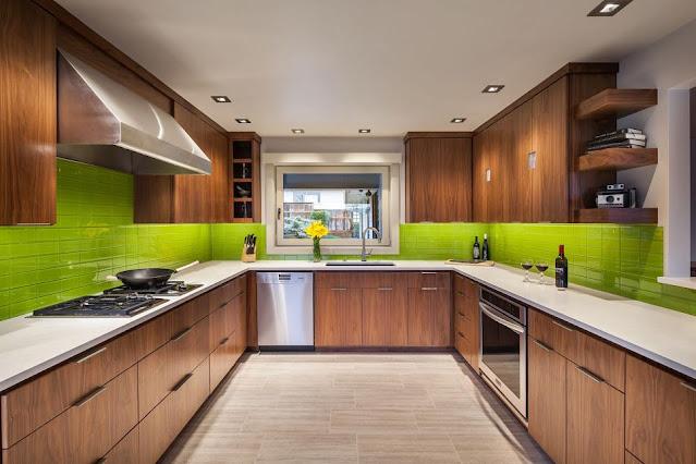 แบบห้องครัวโมเดิร์นโทนสีน้ำตาลและเขียว