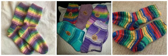 A collage photo showing three pairs of plain socks knitted in Winwick Mum yarn.  On the left is Wildflower in shades of pink, purple, yellow, green and cornflower blue in the centre are five pairs in Seascape (shades of turquoise), Hidden Gem (shades of purple), Seascape in shades of turquoise, Wildflower in shades of yellow, green, purple, pink and cornflower blue, and Brightside with red, green, navy, yellow and blue stripes.  On the right is Brightside with red, green, navy, yellow and blue stripes