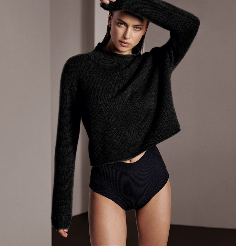 Dressed in black, Irina Shayk fronts NAKEDCASHMERE fall 2021 campaign