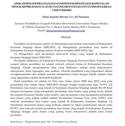 Aplikasi Penginderaan Jauh dan SIG dalam Mengkaji Perubahan Luas Hutan [PAPER]
