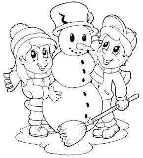 דפי צביעה ילד בונה בובת שלג