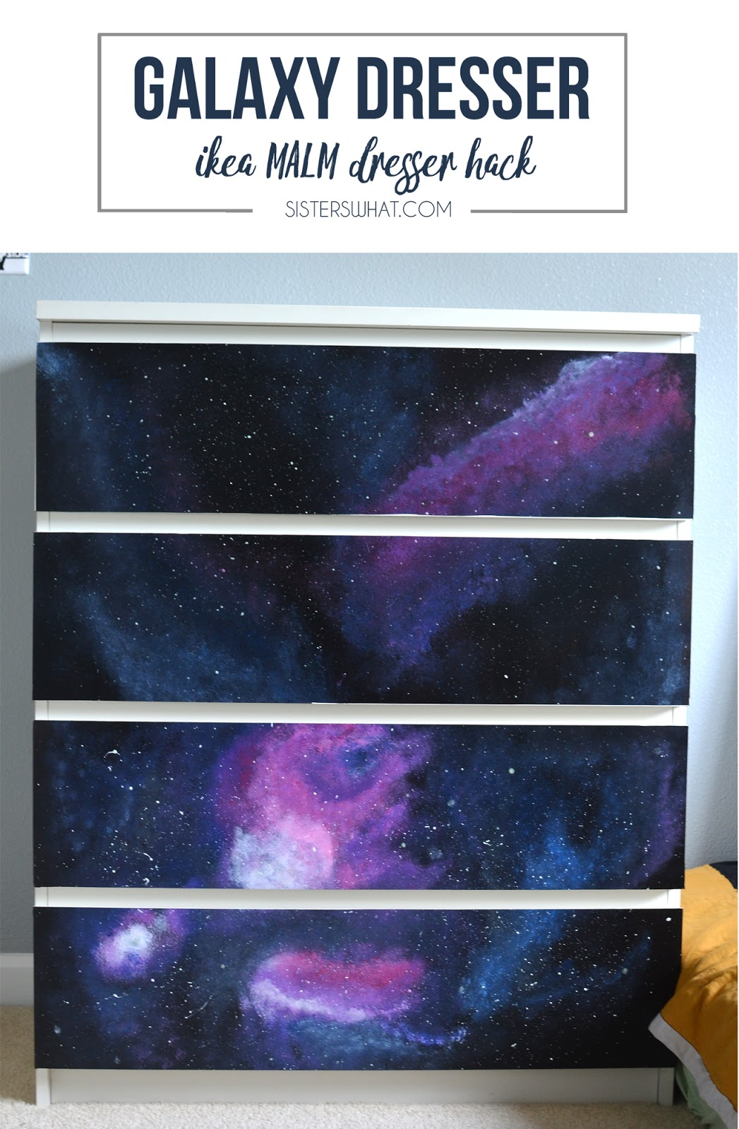 Galaxy dresser using an Ikea dresser - perfect for a space room