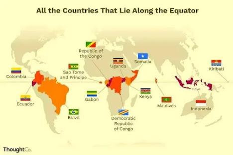 هل تعلم الدول 13 التي تقع على خط الاستواء equateur..الجغرافيا