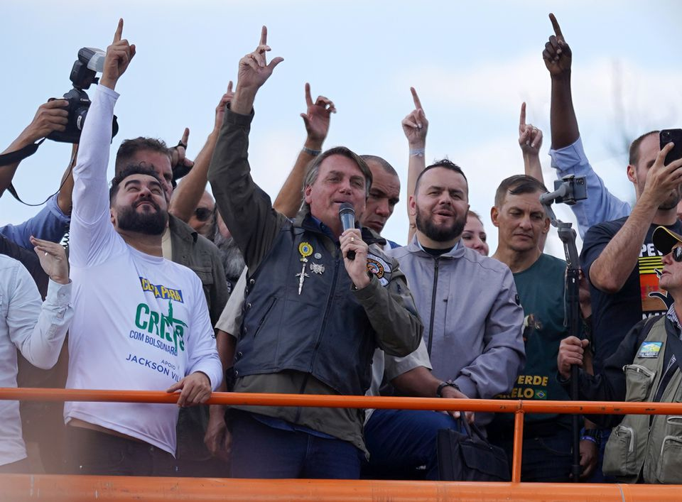 At biker rally, Brazil's Bolsonaro says cops will support him 'whatever happens'