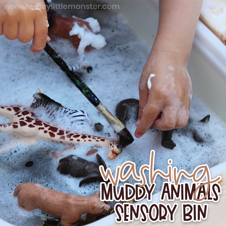 Washing muddy zoo animals sensory bin for toddlers