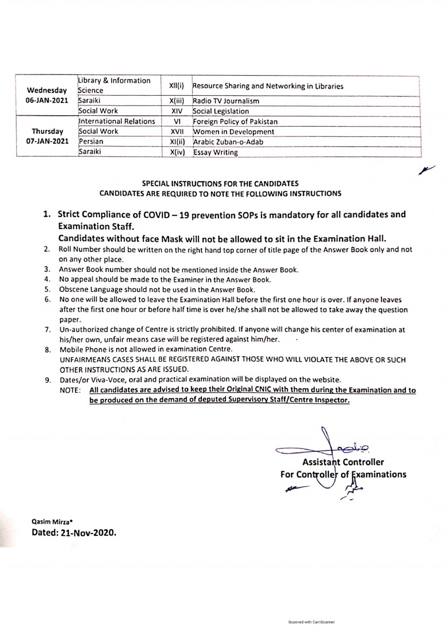 Islamia University - Date Sheet of M.A. / M.Sc. Supplementary 2019 and First Annual 2020 Examination  , EVENING TIME