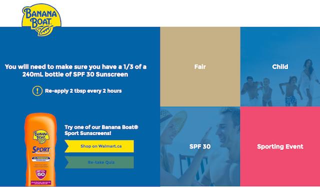 Banana Boat® Sun Care online tool