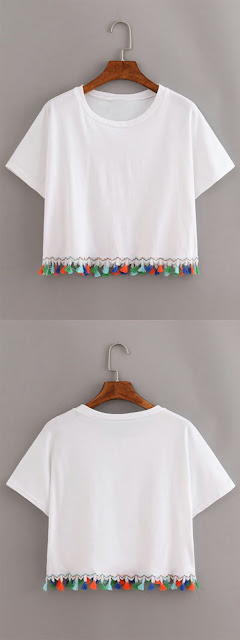 White contrast T shirt