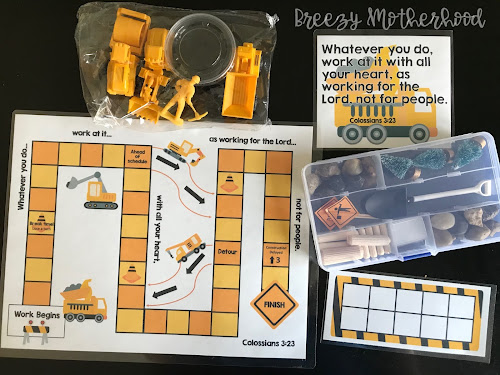 Construction truck sensory bin and imaginative play for preschool and toddlers