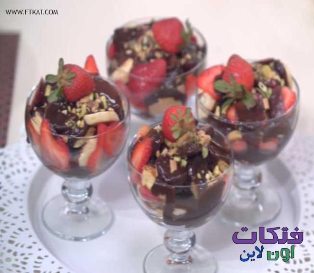 طريقة عمل كاسات البان كيك بالفاكهة وصوص الشيكولاتة